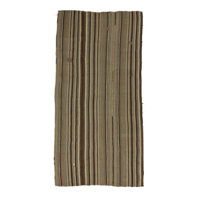 Vintage Turkish Natural Striped kilim Rug- 5′6″ × 11′ For Sale