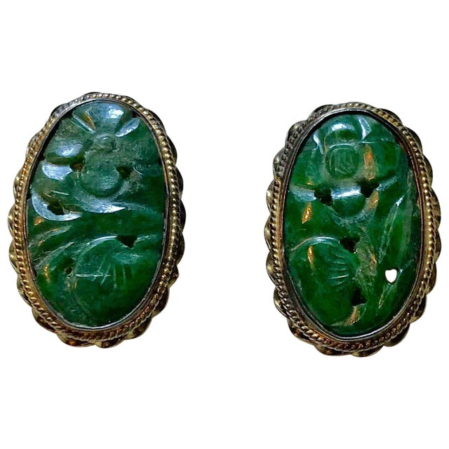 1940s Carved Jade, Sterling and 14k Clip-Back Earrings For Sale