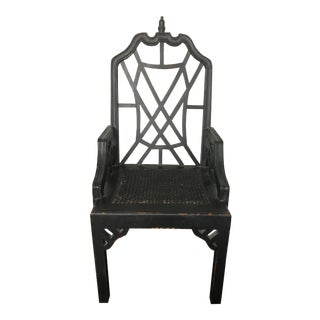 Chinese Chippendale Desk Arm Chair For Sale