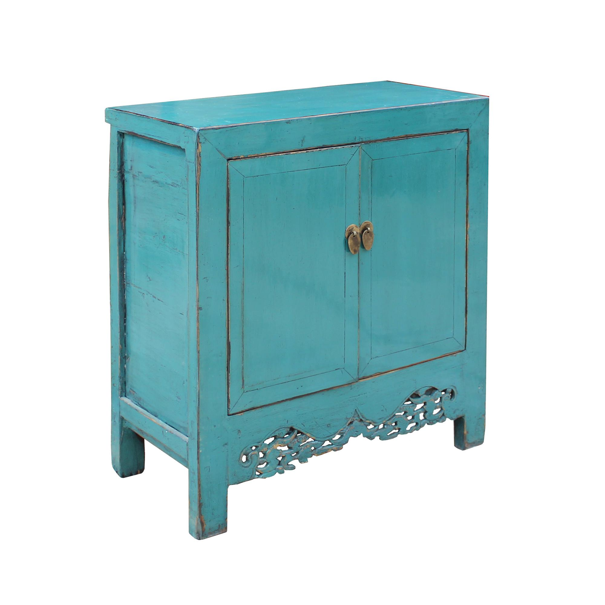 Chinese Distressed Rustic Aqua Blue Foyer Console Table Cabinet