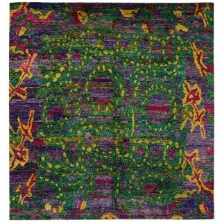 Indian Ikat Silk Saree - 8′8″ × 9′2″ For Sale