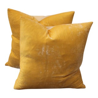 Pair of Golden Yellow Velvet Pillows For Sale