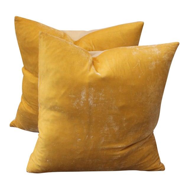Pair of Golden Yellow Velvet Pillows For Sale