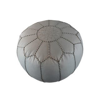 Stuffed White Vegan Leather Pouf For Sale
