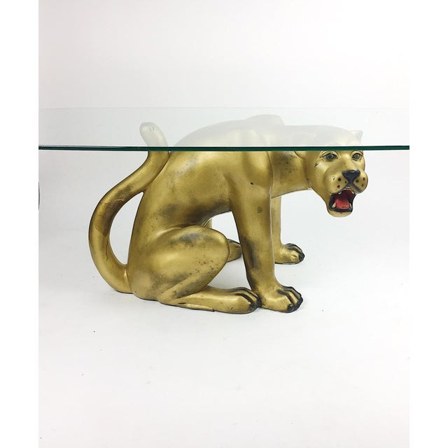 Vintage Hollywood Regency Gold Panther Coffee Table - Image 3 of 11