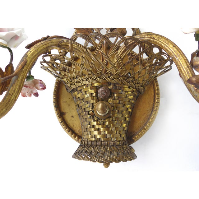 Antique French Bronze and Porcelain Floral Basket Sconces - a Pair For Sale - Image 9 of 10