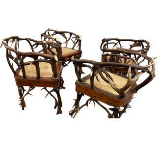 A Set Of Four Cabin Decor Antler Armchairs Ca. 1900 For Sale