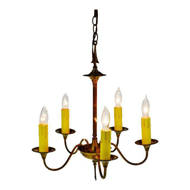 Antique Brass 5 Light Candle Chandelier Arrow Design For Sale - Image 13 of 13