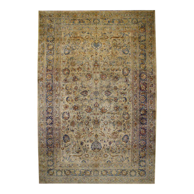 Antique Persian Mashad Rug with Modern Style in Soft Colors For Sale