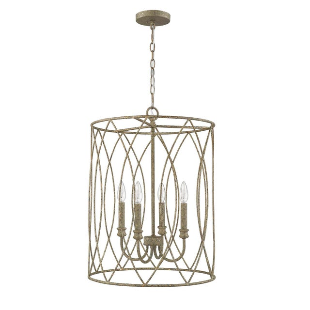 2010s Lucie 4 Light Pendant, Rococo Grey Gold Leaf For Sale - Image 5 of 5