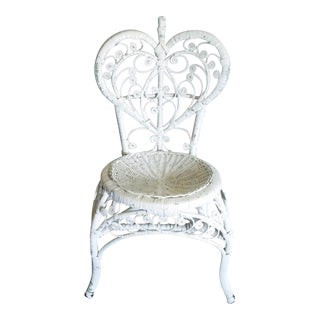 Vintage White Rattan Heart Back Peacock Chair
