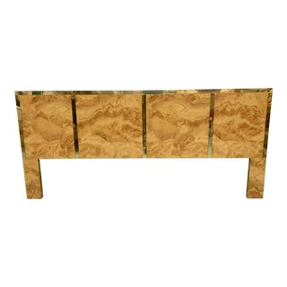 Hollywood Regency Burl Wood and Brass King Size Headboard For Sale