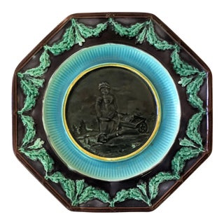 1890 Antique English Majolica Plate Woman With Wheelbarrow For Sale