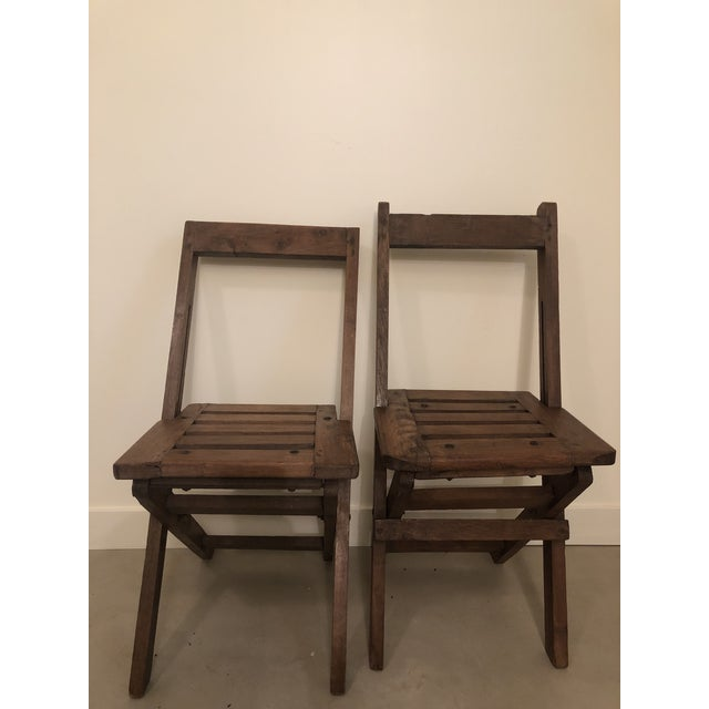 Antique Wood Folding Chairs - a Pair For Sale In Chicago - Image 6 of 6