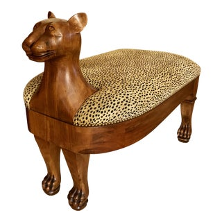 Vintage Maitland-Smith Cat Ottoman