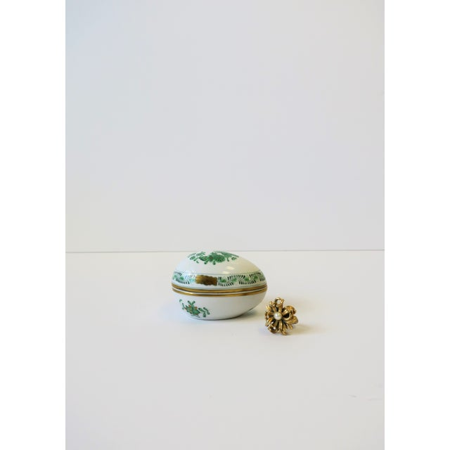 Herend White Green Gold Porcelain Egg-Shaped Jewelry Box For Sale - Image 11 of 13