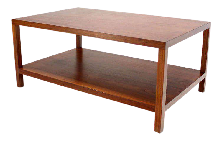 Mid Century Modern Parson Style Coffee Table With Bottom Shelf   Image 1 Of  8