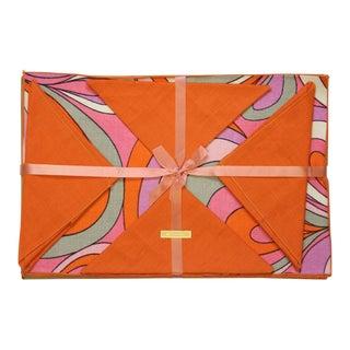 1960's Orange & Pink Swirl Linen Place Mats & Napkins - Set of 6 For Sale