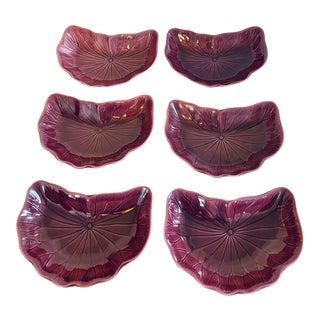 1980s Metlox Lavender Lotus Crescent Salad Plates - Set of 6 For Sale