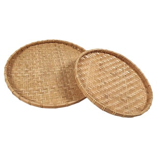 Rattan Nesting Trays, S/2 For Sale
