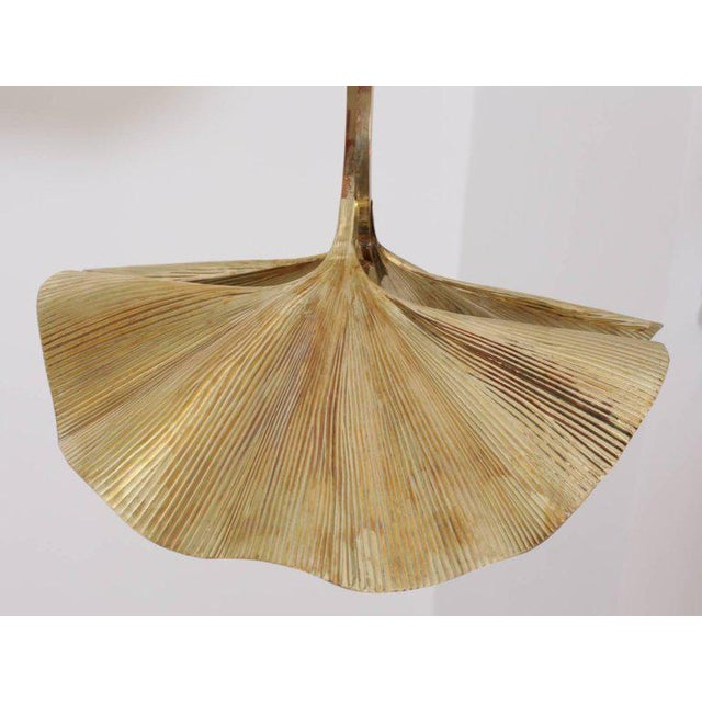 Hollywood Regency Rare Huge Ginkgo Leaf Brass Chandelier by Tommaso Barbi For Sale - Image 3 of 8