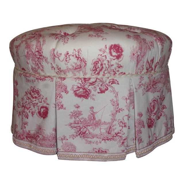 French Rose Toile Ottoman With Custom Braid and Band Trims For Sale