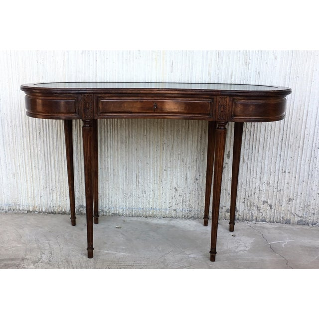 Victorian Coromandel and Marquetry Inlaid Victorian Period Kidney Lady Desk For Sale - Image 3 of 13