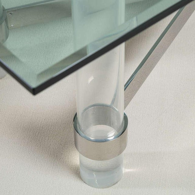 A Superb Lucite and Chromium Steel Based Dining Table 1970s For Sale - Image 6 of 9