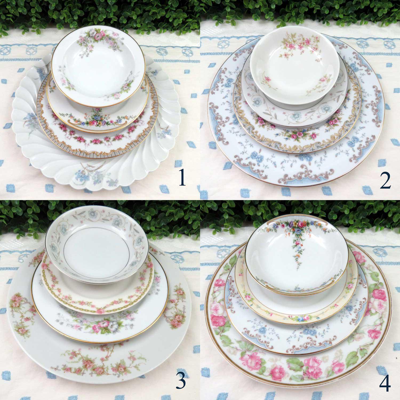 Vintage Mismatched Fine China Dinnerware - Service for 12 - Image 2 of 9 & Vintage Mismatched Fine China Dinnerware - Service for 12   Chairish