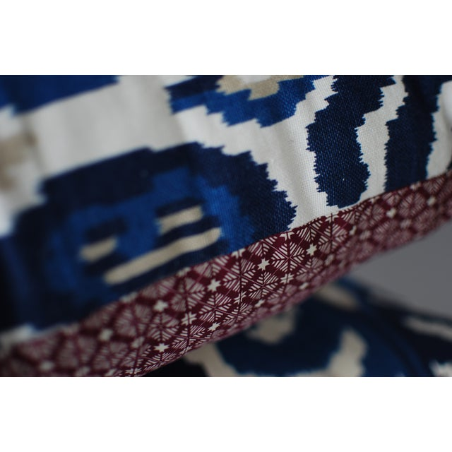 Custom Blue Ikat Pillows - A Pair - Image 6 of 7