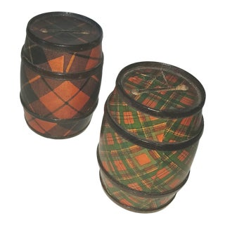 19th Century Scottish Tartanware Barrel Banks - a Set of 2 For Sale