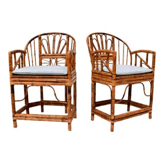 Stick Wicker Caned Chinoiserie Chairs Attributed to Maitland Smith - a Pair For Sale