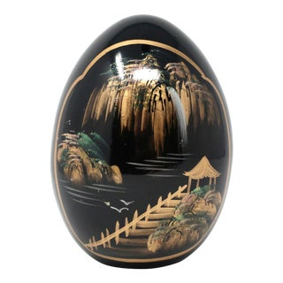Vintage Hand-Painted Chinoiserie Glass Egg For Sale