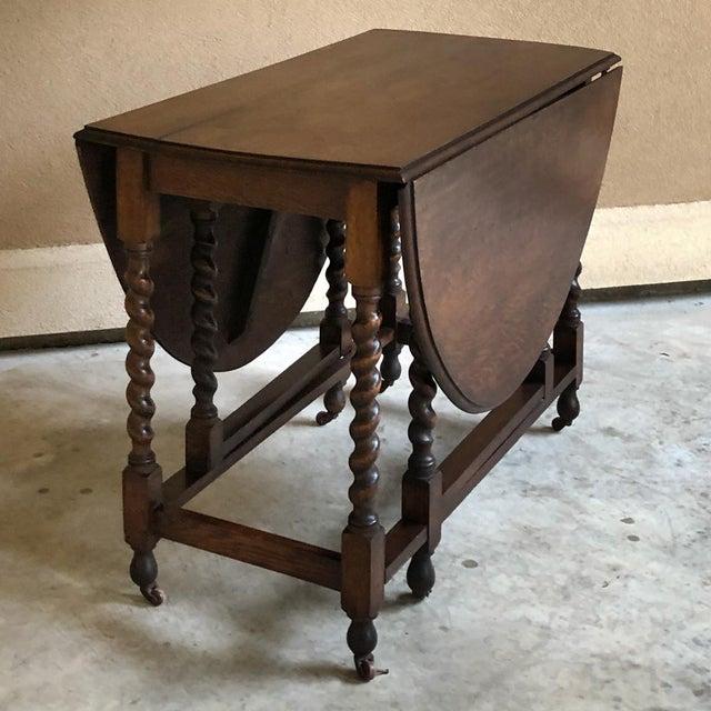 Antique Barley Twist Gateleg Drop Leaf Table For Sale In Dallas - Image 6 of 13