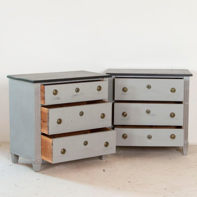 Gustavian (Swedish) 19th Century Antique Swedish Gustavian Nightstands-a Pair For Sale - Image 3 of 9