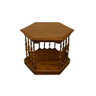 20th Century Traditional Ethan Allen Heirloom Nutmeg Hexagonal Spindle End/Lamp Table For Sale