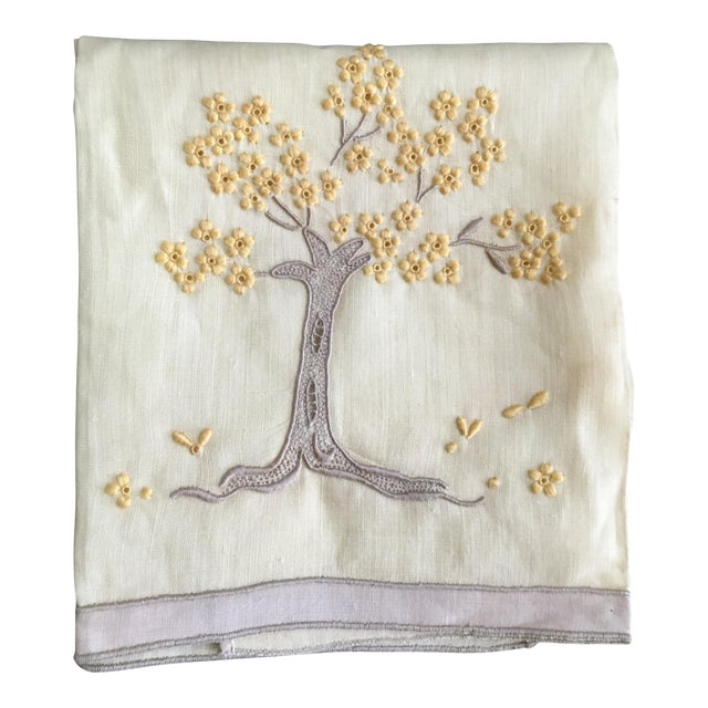 Vintage Embroidered Tree Tea Towel - Image 1 of 10