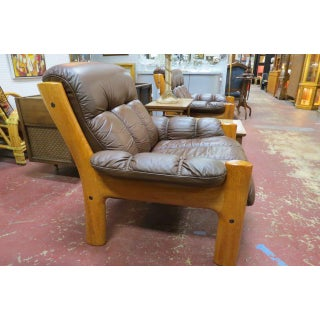 Vintage Mid Century Modern Ekornes Scandinavian Solid Teak and Leather Lounge Chair Preview