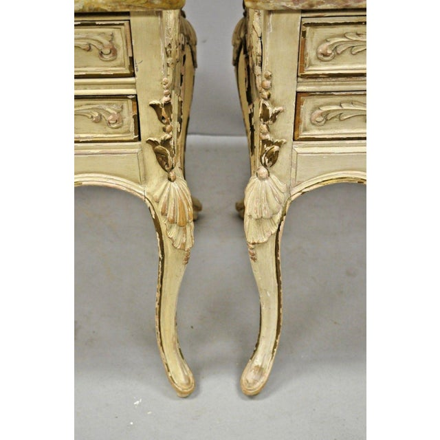 White 1950s French Louis XV Marble Top Nightstands - a Pair For Sale - Image 8 of 11