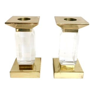 20th Century Hollywood Regency Brass and Acrylic Candleholders - a Pair For Sale