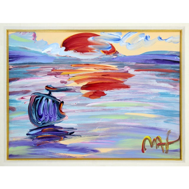 """For your consideration is a wonderful, framed acrylic painting, entitled """"Sunset,"""" signed by Peter Max. In excellent..."""