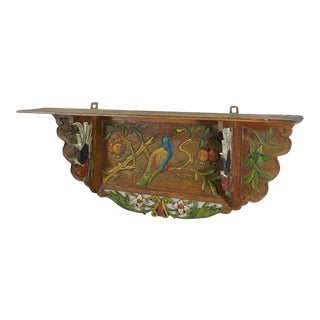 Vintage Victorian Wooden Shelve With Polycromic Painted Birds Ca. 1920 For Sale