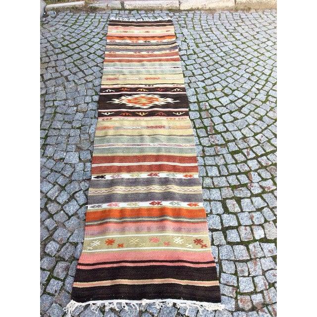 "Vintage Turkish Anatolian Kilim Rug - 1'8"" X 7'4"" For Sale - Image 6 of 6"
