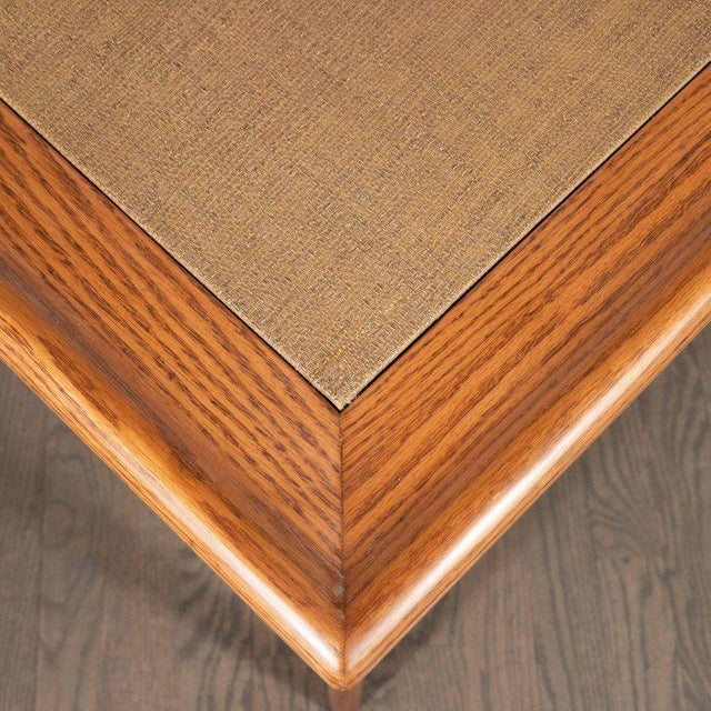 Brown Mid-Century Modern Sculptural White Oak Table With Wrapped Linen Top For Sale - Image 8 of 10