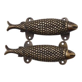 Dark Brass Fish Door Handles - a Pair For Sale