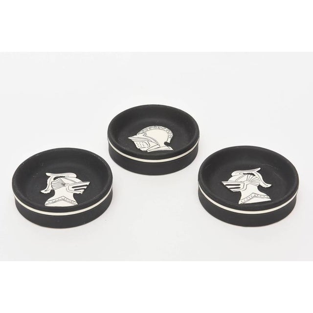 Mediterranean Architectural Black & White Knights Porcelain Sculptural Dishes - Set of 3 For Sale - Image 3 of 9