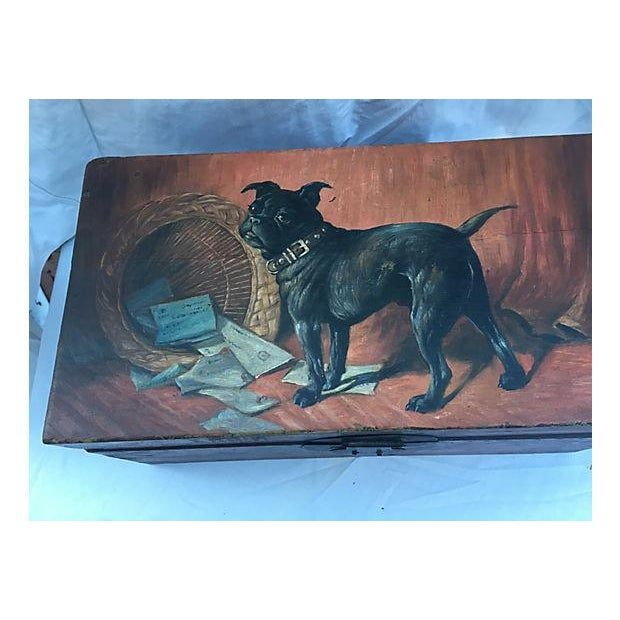 Antique wood letter box with painted pug chairish Where can i buy reclaimed wood near me