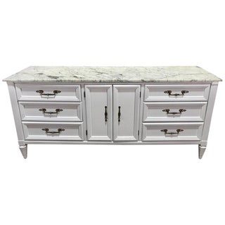 Parzinger Style White Lacquered Marble-Top Credenza or Sideboard For Sale