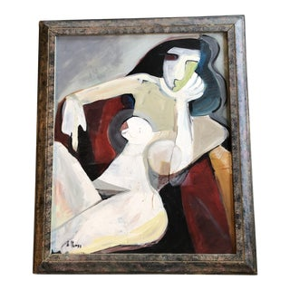 Original Stewart Ross Female Nude Modernist Painting For Sale