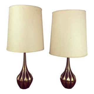 1960s Laurel Lamp Co Brass and Walnut Table Lamps - a Pair For Sale